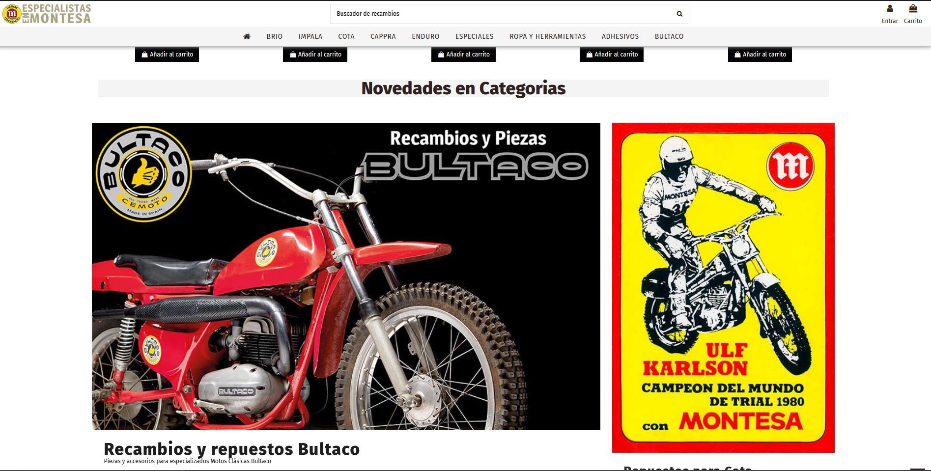 Tienda Virtual recambios montesa y Bultaco